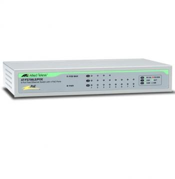 8-port 10/100TX Unmanaged PoE Switch ALLIED TELESIS AT-FS708LE/POE