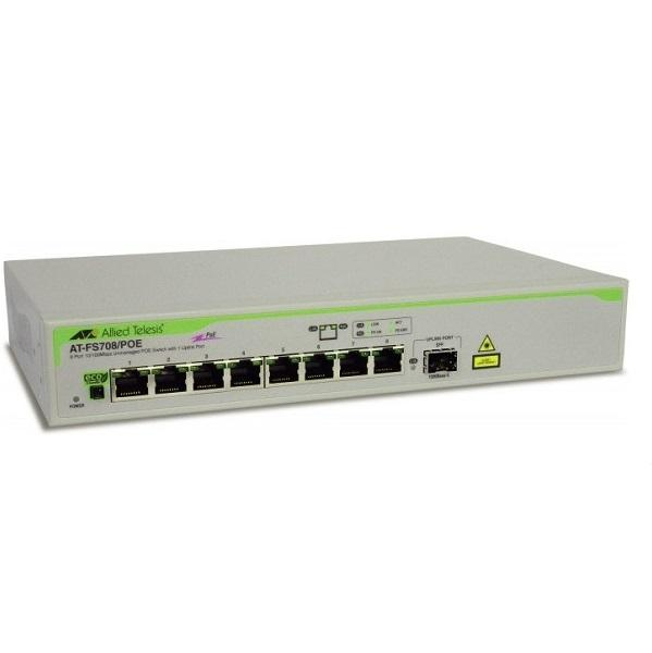 8-port 10/100TX Unmanaged PoE Switch ALLIED TELESIS AT-FS708/POE
