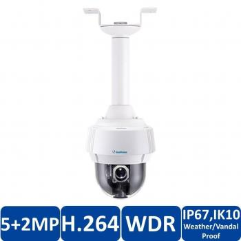 Geovision GV-PPTZ7300 2-in-1 Panoramic PTZ IP Security Camera - 5MP Fisheye, 2MP Speed Dome